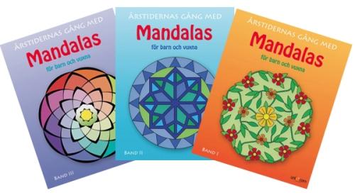 Tre Mandalas målarböcker - årstiderna - på ABC Leksaker