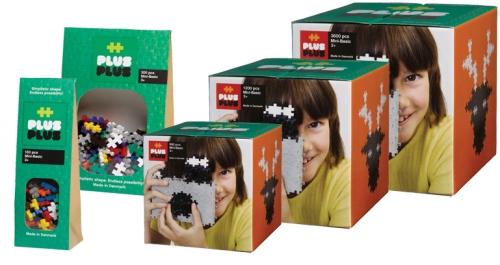 Fem olika storlekar Plus Plus Mini Basic på ABC Leksaker