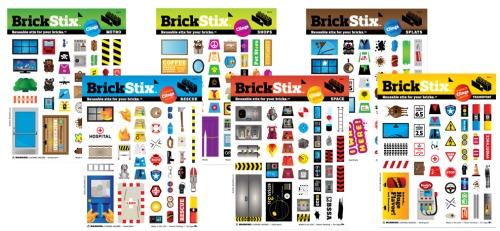 BrickStix avtagbara dekaler till Lego i 6 olika design - rescue, metro, shops, space, transport och splats